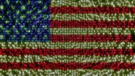 Cyber USA Flag - Digital Data Code Matrix - motion graphic