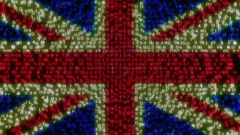 Cyber UK Flag - Digital Data Code Matrix - stock footage