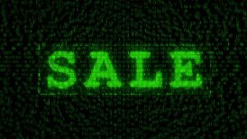 SALE sign - Digital Data Code Matrix - motion graphic