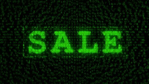 SALE sign - Digital Data Code Matrix - stock footage