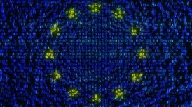 Cyber EU Flag - Digital Data Code Matrix