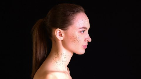 Dry Skin. Girl with dry skin on the face and neck turns into a beautiful woman. - stock footage
