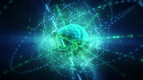 Human Brain (With Animated Clockwork Machinery Inside) In Cyberspace.  - stock footage