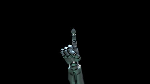 Robot hand touches the screen.  - stock footage