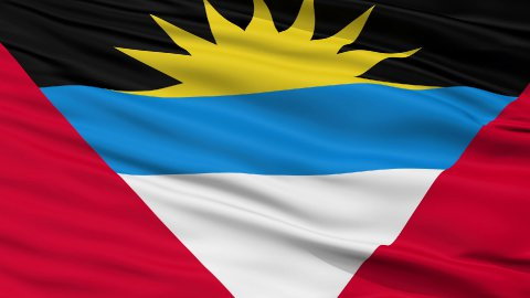 Close Up Waving National Flag of Antigua and Barbuda - stock footage