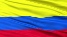 Close Up Waving National Flag of Colombia