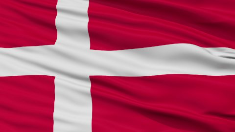 Close Up Waving National Flag of Denmark - stock footage