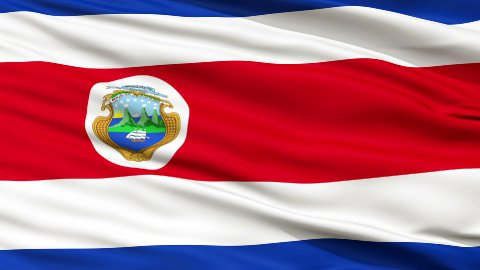 Close Up Waving National Flag of Costa Rica - stock footage