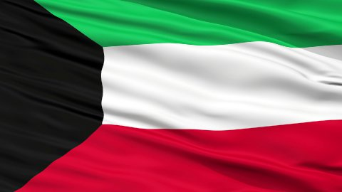 Close Up Waving National Flag of Kuwait - stock footage