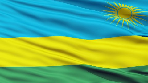 Close Up Waving National Flag of Rwanda - stock footage