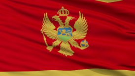 Close Up Waving National Flag of Montenegro