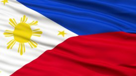 Close Up Waving National Flag of Philippines - motion graphic
