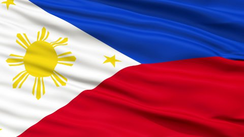 Close Up Waving National Flag of Philippines - stock footage