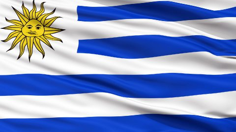 Close Up Waving National Flag of Uruguay - stock footage