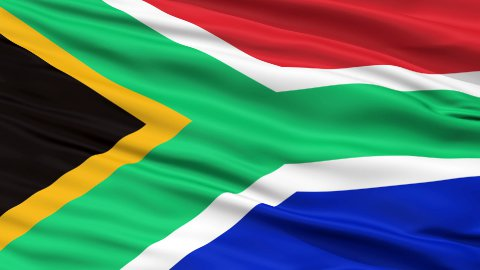 Close Up Waving National Flag of South Africa - stock footage
