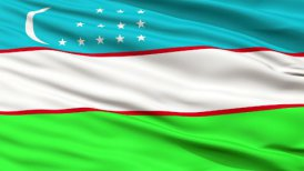 Close Up Waving National Flag of Uzbekistan