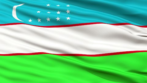 Close Up Waving National Flag of Uzbekistan - stock footage