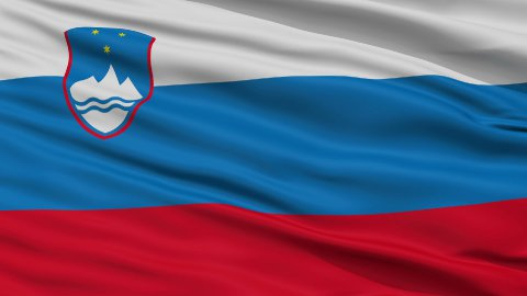 Close Up Waving National Flag of Slovenia - stock footage
