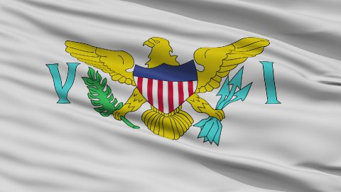Close Up Waving National Flag of the United States Virgin Islands - stock footage