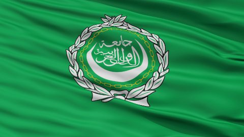 Close Up Waving Flag of Arab League - stock footage