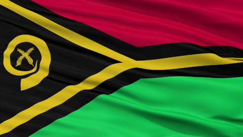 Close Up Waving National Flag of Vanuatu - stock footage