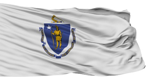 Isolated Waving National Flag of Massachusetts - stock footage