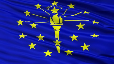 Close Up Waving National Flag of Indiana - stock footage