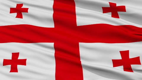 Close Up Waving National Flag of Georgia - stock footage