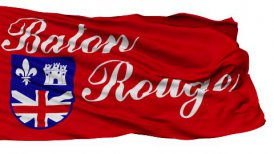 Isolated Waving National Flag of Baton Rouge City