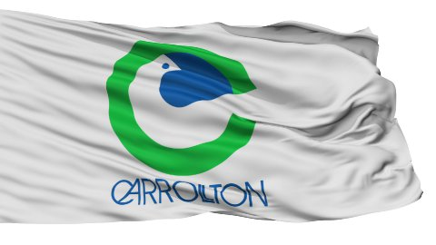 Isolated Waving National Flag of Carrollton City - stock footage