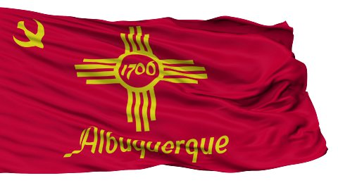 Isolated Waving National Flag of Albuquerque City - stock footage