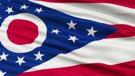 Close Up Waving National Flag of Ohio