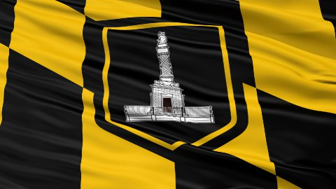 Close Up Waving National Flag of Baltimore City - stock footage