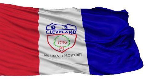 Isolated Waving National Flag of Cleveland City - stock footage