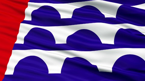 Close Up Waving National Flag of Desmoines City - stock footage