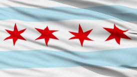 Close Up Waving National Flag of Chicago City