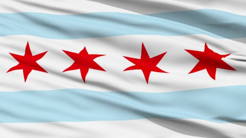 Close Up Waving National Flag of Chicago City - stock footage