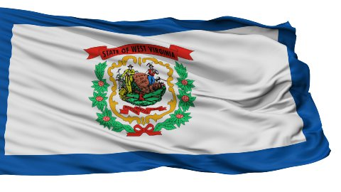 Isolated Waving National Flag of West Virginia - stock footage