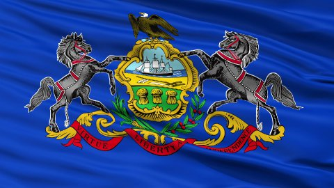 Close Up Waving National Flag of Pennsylvania - stock footage