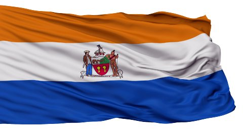 Isolated Waving National Flag of Albany City - stock footage