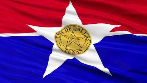 Close Up Waving National Flag of Dallas City - stock footage