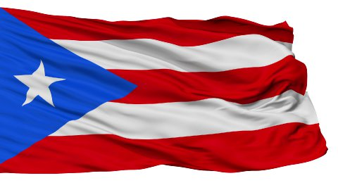 Isolated Waving National Flag of Puerto Rico - stock footage