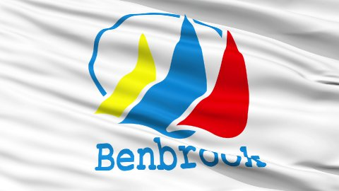 Close Up Waving National Flag of BenBrook City - stock footage