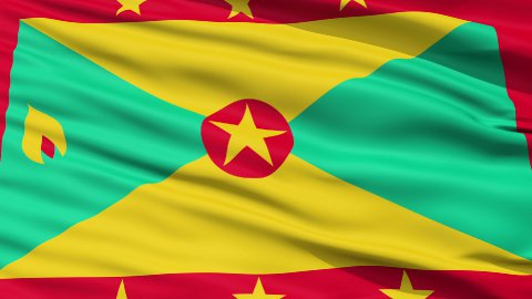 Close Up Waving National Flag of Grenada - stock footage