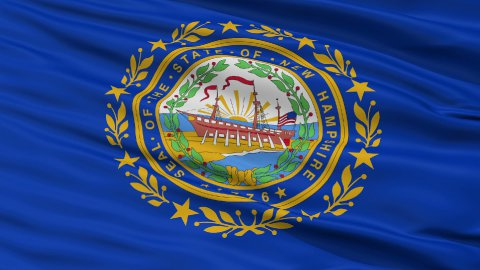 Close Up Waving National Flag of New Hampshire - stock footage