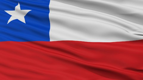 Close Up Waving National Flag of Chile - stock footage