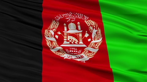 Close Up Waving National Flag of Afghanistan - stock footage