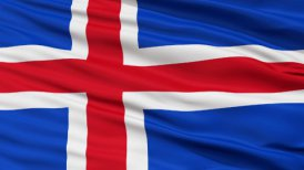 Close Up Waving National Flag of Iceland