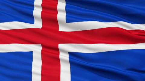 Close Up Waving National Flag of Iceland - stock footage