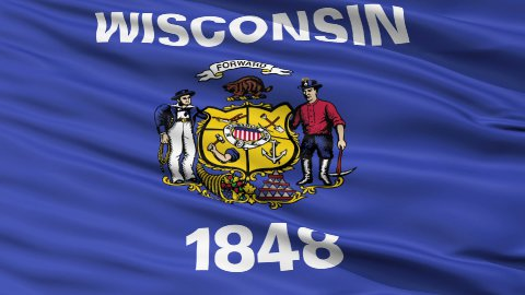 Close Up Waving National Flag of Wisconsin - stock footage